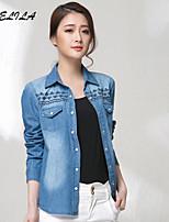 Women's Casual Long Sleeve Regular Short Jeans Shirts