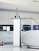 Modern Chrome Waterfall Bathroom Faucet (Tall) - Silver