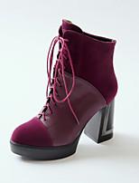 Zapatos de mujer - Tacón Robusto - Punta Redonda / Botas a la Moda - Botas - Vestido - Vellón / Semicuero - Negro / Rojo