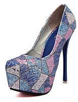 Women's Shoes Stiletto Heel Round Toe Pumps/Heels Casual Blue/Pink