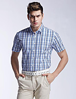 Men's Short Sleeve Shirt , Cotton Casual/Work/Sport Plaids & Checks