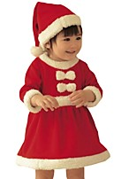 Girl's Winter Christmas Bow Xmas Long Sleeve with Red Hat Party Dress (Cotton Blend)