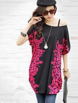 De las mujeres Camiseta Escote Redondo - Lino - Manga Corta