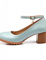 Women's Shoes Faux Leather Chunky Heel Heels Pumps/Heels Office & Career/Casual Blue/Pink/White