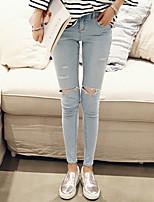 Women's Casual Elastic Holes Slim Fashion Bodycon Jean Pants