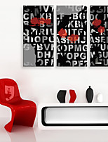 E-HOME® Stretched Canvas Art Letter Decoration Painting  Set of 3