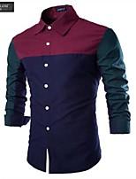 JESUNLOM®Man's Shirt Fashion Long Sleeve Color Blocking Slim Shirt Korean Style Young Man Casual Top Shirt