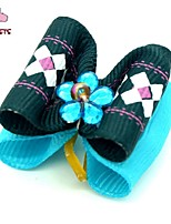 FUN OF PETS® Lovely  Ribbon Style Stripe Pattern Bead Decorated Rubber Band Hair Bow for Pet Dogs  (Random Color)