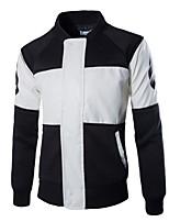 Men's Casual/Plus Sizes Print Long Sleeve Regular Jacket (Cotton)