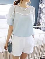 Women's Patchwork Blue Blouse , Round Neck Short Sleeve Tassel
