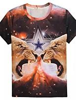 Men's Generous Unique Charm Summer Breathable 3D Style T-Shirt——Two Tigers