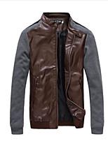 Men's Casual Long Sleeve PU Jacket