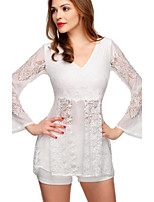 Women's Lace White Blouse , Deep V Long Sleeve Lace/Hollow Out
