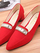 Women's Shoes  Chunky Heel Pointed Toe Pumps/Heels Dress Black/Red/Gray