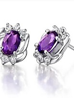 Flammable Volcano Amethyst Earrings For Women  925 Silver Inlaid Natural Amethyst Spiritual SE0001A Ascension