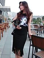Women's Character Black/Gray Vest , Round Neck Sleeveless Tassel