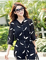 Women's Casual/Print/Cute/Party Micro-elastic ¾ Sleeve Regular T-shirt (Chiffon)