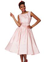 A-linje Bateau - Cocktail Fest Dress - Rosa Knelengde Taft
