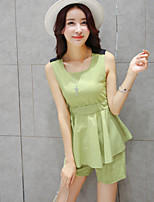 Women's Solid Round Neck Sleeveless Bow/Pleated