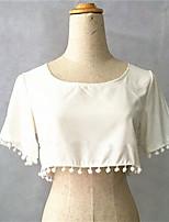 Women's Sexy Inelastic Short Sleeve Short Blouse (Cotton Blends)
