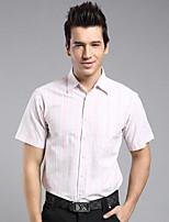 Men's Short Sleeve Shirt , Cotton Casual/Work Striped