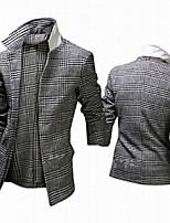 Men's Long Sleeve Long Trench coat , Tweed Plaids & Checks
