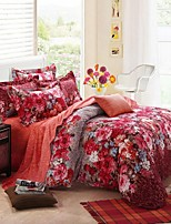 H&C ®  Thicken Cotton Sanded Fabric Duvet Cover Set  4 Pieces Flower Pattern Pink Red Orange  Multi-Color