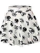 PinkQueen Women's Polyester/Spandex Eyes Printed Pleated Skirt Short Mini Skirt