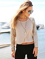 Women's Beige T-shirt , Round Neck Long Sleeve Sequins