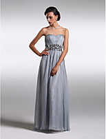 Homecoming Formal Evening Dress - Silver Sheath/Column Strapless Floor-length Chiffon