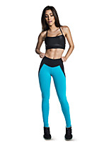 Women Cotton/Others Medium Up And Down Stitching Patchwork Leggings Gym Finess Pants Running Workout Wear