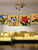 E-HOME® Stretched Canvas Art Bright Flowers Decorative Painting  Set of 4