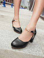 Women's Shoes Faux Leather Chunky Heel Heels/Round Toe Clogs & Mules Casual Black/Blue/Pink/Red