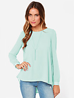 Women's Solid Red/Green Blouse , Round Neck Long Sleeve Pleated