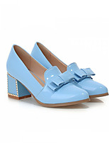 Women's Shoes Faux Leather Chunky Heel Heels/Round Toe Pumps/Heels Office & Career/Casual Black/Blue/Pink/White