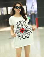 Women's Casual Micro-elastic Short Sleeve Long T-shirt (Cotton Blends)