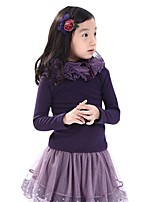 Girl's Winter Plus Thick Backing Shirt Solid Color Long-sleeved Multilayer Gauze Collar Tops (Cotton Blend)
