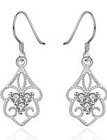 Серьги-слезки Кристалл Серебрянное покрытие Цветочный дизайн В форме цветка Серебряный БижутерияСвадьба Для вечеринок Halloween