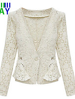 ZAY Women's Casual/Work One Button Long Sleeve Lace Short Coat
