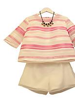 Women's Casual Inelastic Short Sleeve Regular Suit (Chiffon/Organza)
