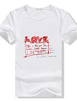Men's Casual/Work/Sport Print Short Sleeve Regular T-Shirt (Cotton Blend/Elastic)
