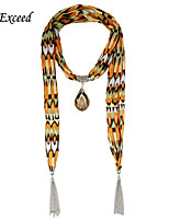 D Exceed  New Fashion Brown Glass Tear Drop Pendent  Chiffion Jewelry Scarves with Silver Tassels for Women