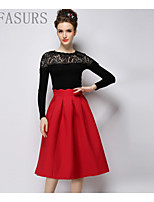 Women's Bodycon/Beach/Casual/Cute/Party Micro-elastic Medium Knee-length Skirts (Polyester)