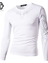 WHAT LEES Men's Casual Print Long Sleeve Regular T-Shirt