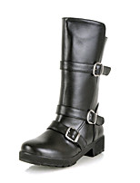 Women's Shoes Low Heel Motorcycle Boots/Round Toe Boots Office & Career/Dress/Casual Black/Brown