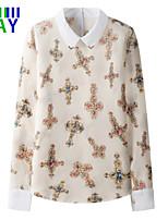 De las mujeres Camisa - Flor Cuello Camisero - Raso - Manga Larga