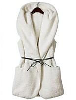 Women's White/Black/Brown/Gray Parka Coat , Casual Sleeveless