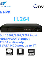 GREAT  8ch NVR with ONVIF2.4 Compatibility, 8ch 1080P/960P/720P input,1*RCA audio output