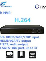 grande NVR 8ch con la compatibilità onvif2.4, 8ch 1080p / 960p / 720p in ingresso, 1 * Uscita audio RCA