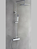Luxury Brass Thermostatic Shower Faucet Chrome Finished Rain Square Shower Tap Bathroom Shower Mixer Tap